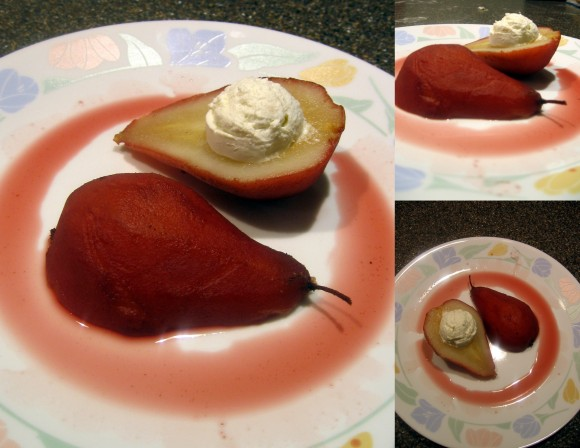 Pomegranate Poached Pears with Goat Cheese