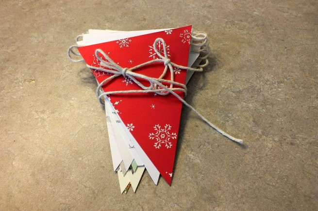 Christmas card bunting flags ready for storage