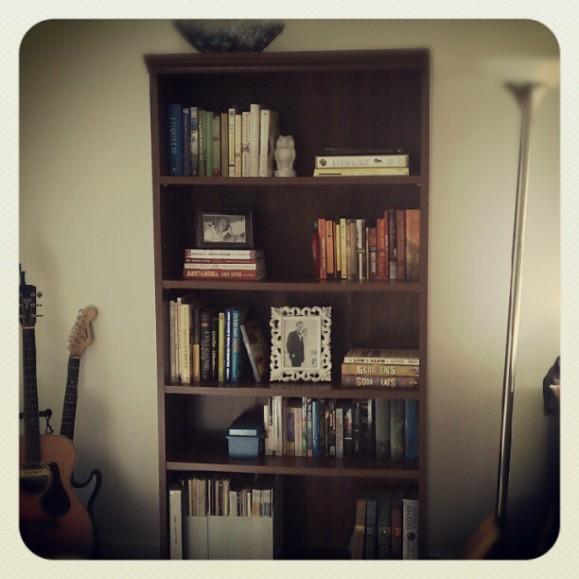 De-cluttered bookshelf!