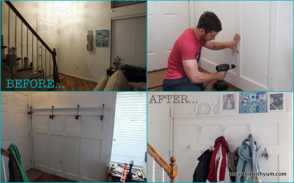 L-R, Top then bottom: Before, we had an awkward blank wall that held our mail basket and a painting; Alex pulled out the floor molding and cut wood to fit; the top ledge drying; the finished wall in use