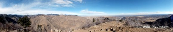 Panoramic view of Clear Creek Canyon and the city of Golden from atop Lookout Mountain.