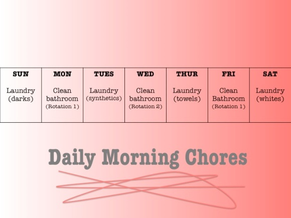 Sample morning chore schedule