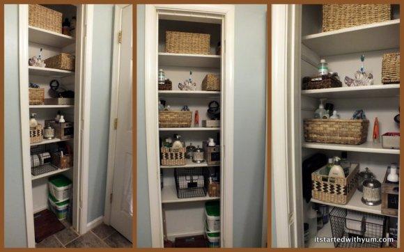 Newly reorganized bathroom closet