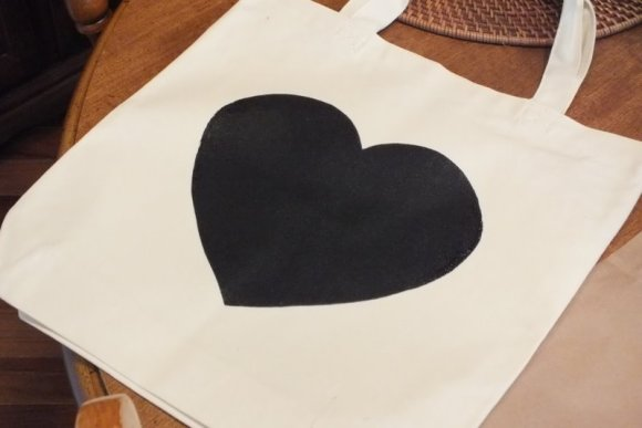 Screen print black heart tote bag
